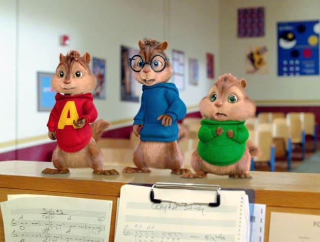 Alvin, Simon and Theodore in Class.