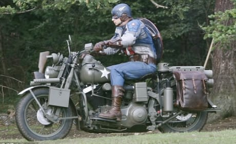 Captain America Spotted on a Motorcycle!