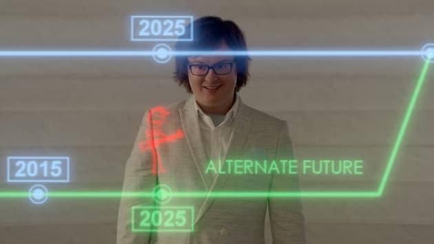 Clark Duke & Futuristic Touch Screen