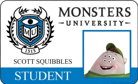 Scott Squibbles Monsters University Student ID