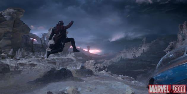 Guardians of the Galaxy Chris Pratt Leaps