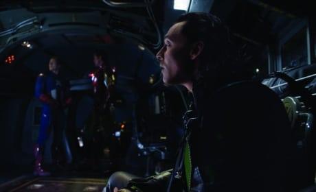 Tom Hiddleston, Robert Downey Jr. and Chris Evans in The Avengers