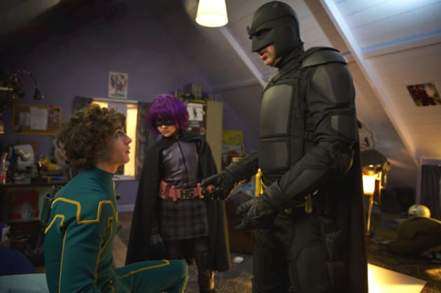 Big Daddy and Hit Girl in Kick-Ass' Bedroom