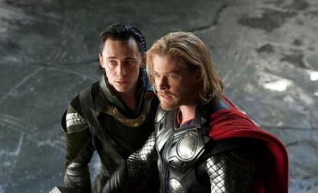 Chris Hemsworth and Tom Hiddleton in Thor