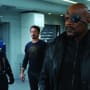 Samuel L. Jackson, Chris Evans and Robert Downey Jr. in The Avengers