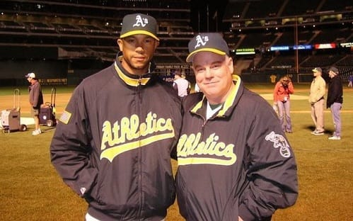 Stephen Bishop and Philip Seymour Hoffman in Moneyball