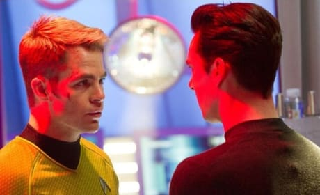 Star Trek Into Darkness Stills Star Chris Pine, Zachary Quinto, and Benedict Cumberbatch