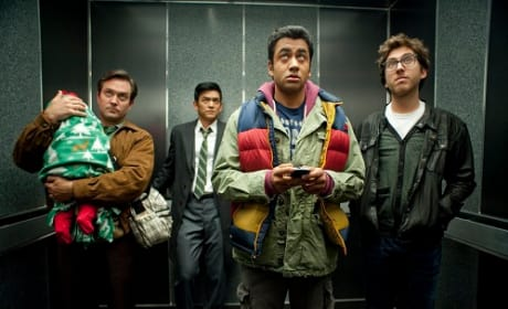 Tom Lennon, Kal Penn and John Cho in A Very Harold and Kumar 3D Christmas