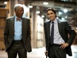 Morgan Freeman and Christian Bale The Dark Knight Rises