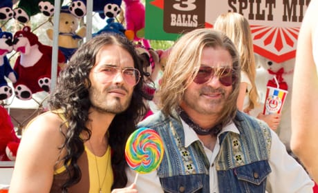 First Look: Alec Baldwin and Russell Brand on Rock of Ages Set