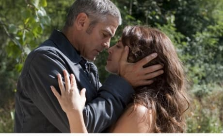 Clooney and Placido Kiss