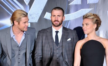 Chris Hemsworth, Chris Evans and Scarlett Johansson at The Avengers Premiere