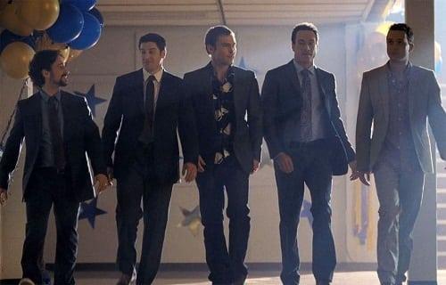 Jason Biggs, Chris Klein and Seann William Scott in American Reunion