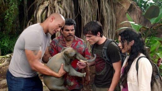 Dwayne Johnson, Josh Hutcherson, Luis Guzman and Vanessa Hudgens in Journey 2