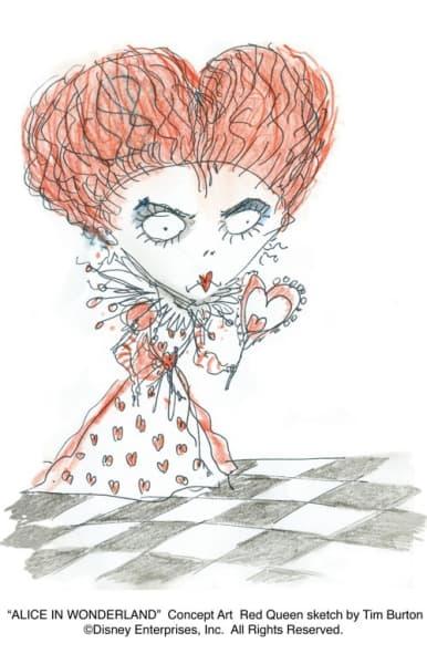 Tim Burton's Red Queen Sketch