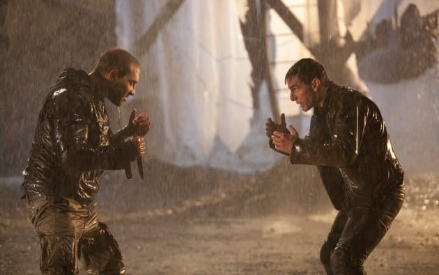 Jai Courtney and Tom Cruise Jack Reacher