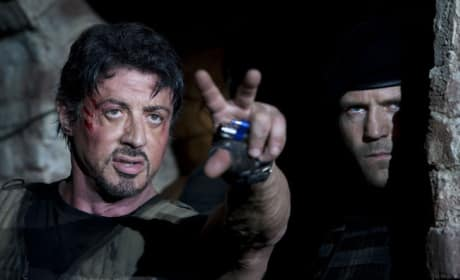 Stallone Points Out the Target