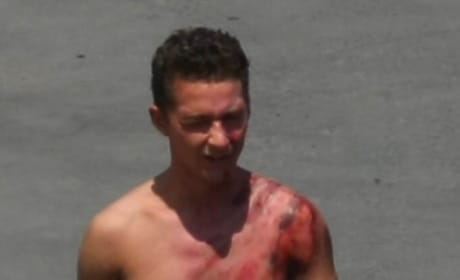 Shia LaBeouf is Shirtless, Bloody on Transformers 2 Set