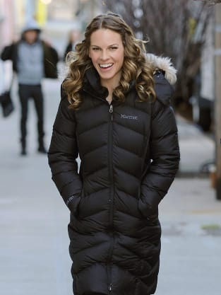 Hilary Swank on the set of New Year's Eve