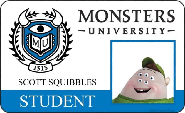 Scott Squibbles Monsters University Student ID