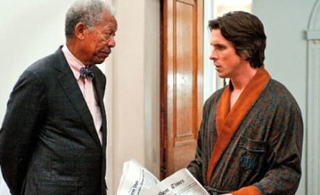 Morgan Freeman and Christian Bale in The Dark Knight Rises