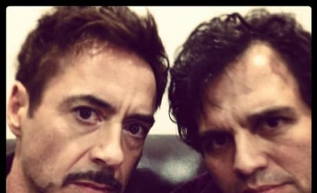 Avengers: Age of Ultron Mark Ruffalo Robert Downey Jr. Set Photo