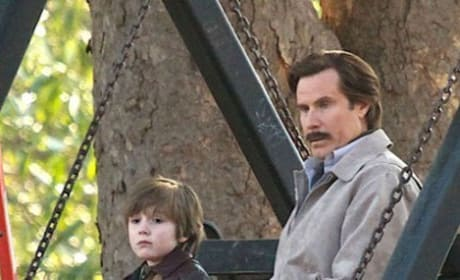 Anchorman The Legend Continues Set Photo: Ron Burgundy a Father?