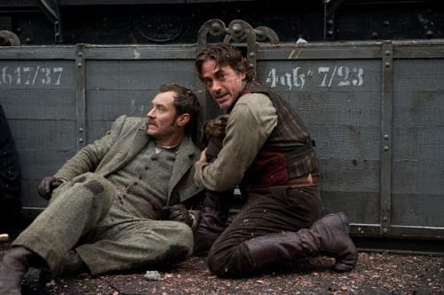 Jude Law and Robert Downey Jr. in A Game of Shadows