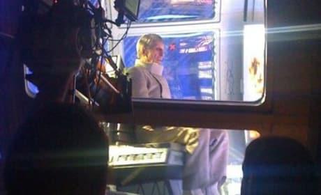 Leonard Nimoy on the Star Trek 2 Set