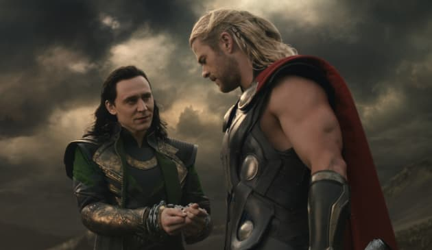 Tom Hiddleston and Chris Hemsworth Thor: The Dark World