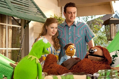 Kermit, Jason Segel and Amy Adams in The Muppets