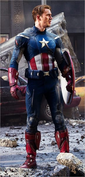 Chris Evans is Captain America in The Avengers