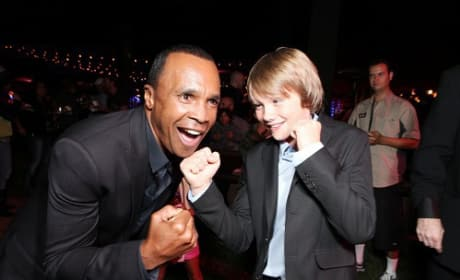 Dakota Goyo and Sugar Ray Leonard at Real Steel Premiere