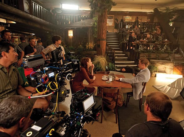 Emma Stone and Ryan Gosling Gangster Squad Set Photo