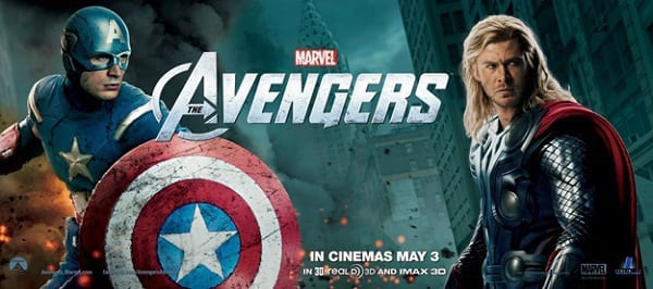 Chris Evans and Chris Hemsworth The Avengers Banner