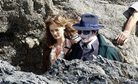 Johnny Depp on Dark Shadows Set