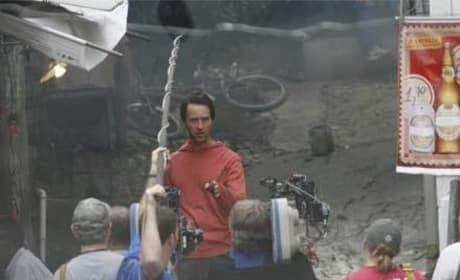 Ed Norton on Set