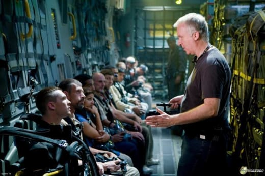 James Cameron directs soldiers
