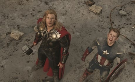 Chris Evans and Chris Hemsworth in The Avengers