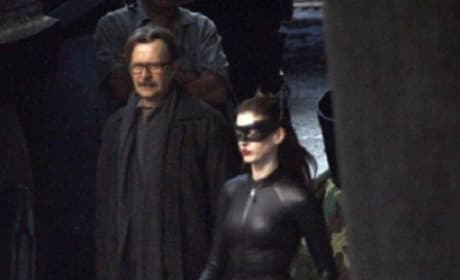 Anne Hathaway as Catwoman on Dark Knight Rises Set