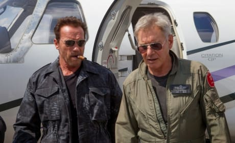 The Expendables 3 Photos: Arnold Schwarzenegger & Harrison Ford Join Forces!