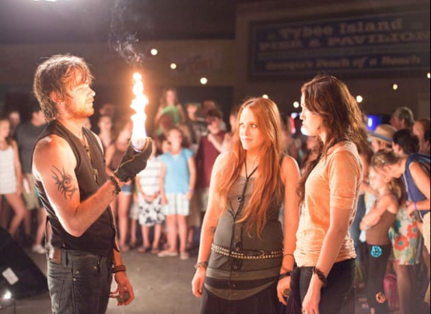 Veronica and Blaze in Front of an Open Flame
