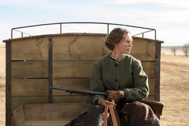 Hilary Swank Rides a Wagon