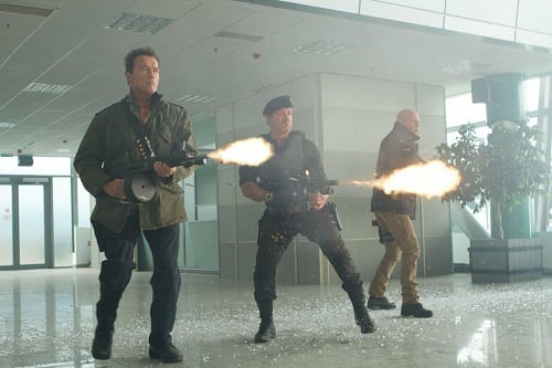 Sylvester Stallone, Arnold Schwarzenegger and Bruce Willis The Expendables 2