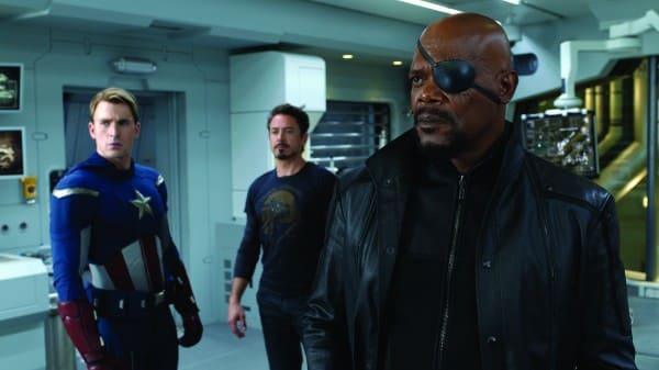 Samuel L. Jackson, Chris Evans and Robert Downey Jr. in The Avengers