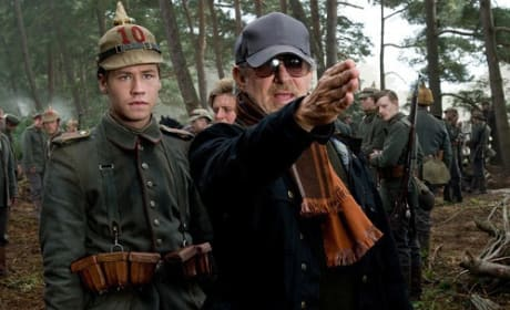 Steven Spielberg on Set of War Horse