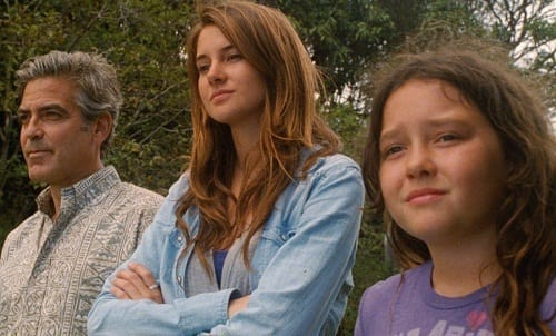 George Clooney, Shailene Woodley and Amara Miller in The Descendants