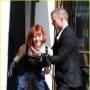 Amanda Seyfried and Justin Timberlake on Set