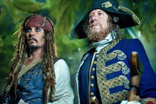 Captain Jack Sparrow and Barbossa
