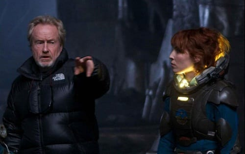 Ridley Scott on the Set of Prometheus